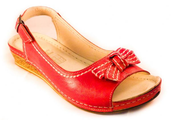 Smart everyday red soft leather sandal
